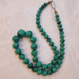 Vintage High Quality Malachite Gemstone Necklace